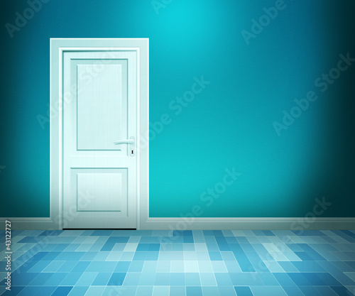 Door in Blue Bath Room