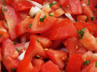 tomato salad with chives and onion