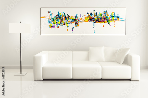 White Couch with an Artwork