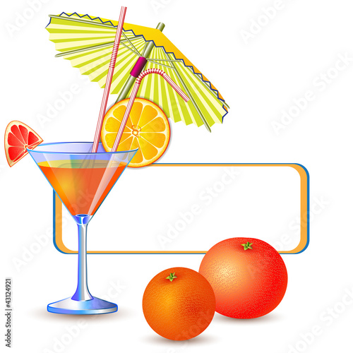 Exotic banner with fresh glass of juice, orange and grapefruit
