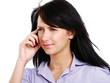 Portrait of a beautiful brunette with migraine