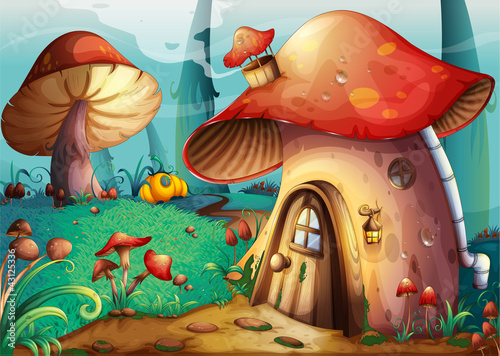 Staande foto Magische wereld mushroom house
