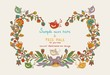 Flowers decor frame with leafs, birds and hearts