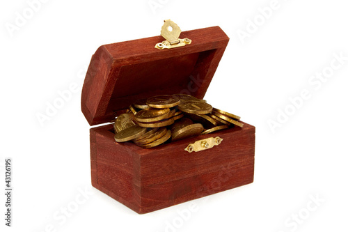 Open chest with coins isolated on white