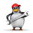 3d Penguin in baseball cap with spanner