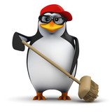 3d Penguin in baseball cap sweeps with broom