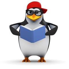 3d Penguin in baseball cap reading a book