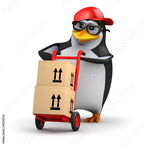3d Penguin in baseball cap delivers parcels