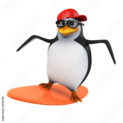 3d Penguin in baseball surfing