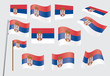 set of flags of Serbia vector illustration
