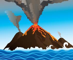 volcano in the ocean