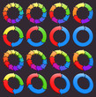 Set of circular colored arrows icons