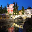 Ljubljana at night, with the Triple Bridge and Church, Slovenia