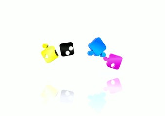Puzzle with the basic colors of the graphics - 3D