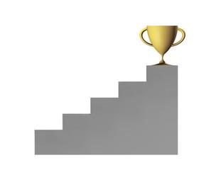 Un trofeo de oro al final de una escalera,copa de oro,premio.