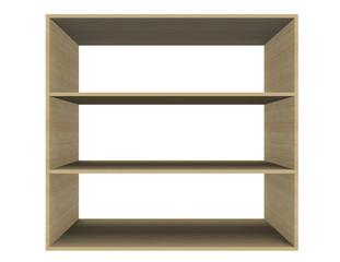 Estante de madera ,mueble vacío en fondo blanco.