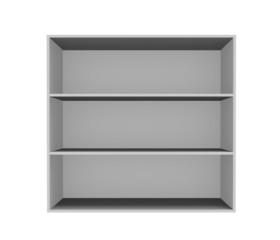 Estante gris ,mueble vacío en fondo blanco.