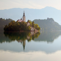 A church on the island in lake Bled in Slovenia