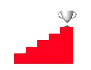 Un trofeo de plata al final de una escalera,copa de plata,