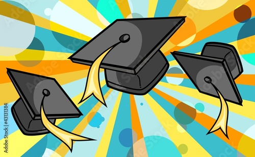 graduation caps (black caps) - rainbow background