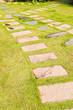 Stone walkway on green grass in garden