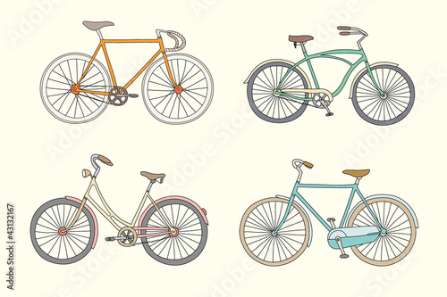 Set of retro bicycles in pastel tints