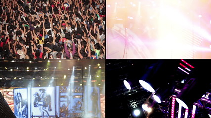 Crowd and spotlight at concert