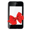 Abstract  design mobile phone with red  bow and ribbon. Vector i