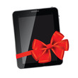 Abstract design Tablet with red bow and ribbon