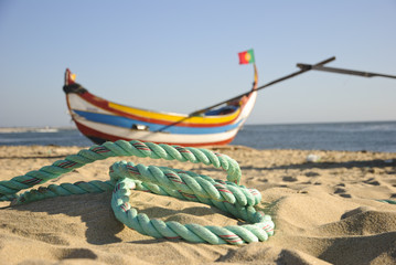 Typical portuguese fishing boat with rope, Espinho, Portugal