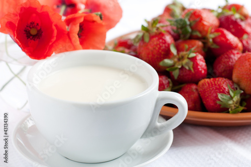 Milk in a white cup on a background of berries