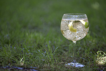 Aromatic cocktail on a grass background