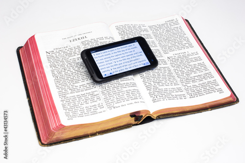 Worn Bible and Smartphone - Ezekiel Poster