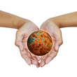hand holding world wrack