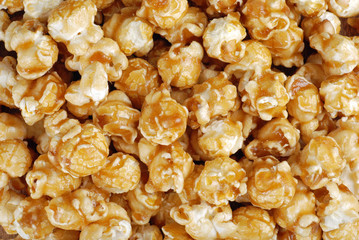 Caramel candy popcorn background