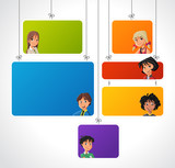 Colorful template for advertising with teenager students