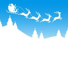 Christmas Sleigh Flying Red Iceblue