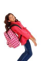 young school girl with heavy Backpack