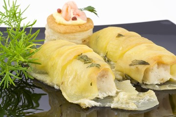 filetto di merluzzo e patate sfogliate