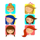 Cute girls avatar icon set