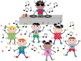 mixed ethnic children dancing disco dj