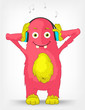 Funny Monster. Listening to Music.