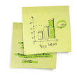 Successful business graph on sticky yellow paper. Realistic vect