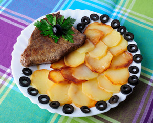 Veal with fried potatoes on a plate