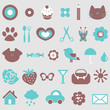 Cute icons design elements set