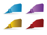 Colorful polygonal origami banners poster