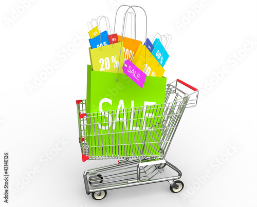 Concept of discount. Shopping cart with sale