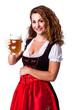 attraktive junge Frau im Dirndl mit Bierkrug