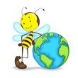 Editable vector of bee standing with globe