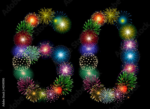 Leinwandbild Motiv Zahl Feuerwerk - 60